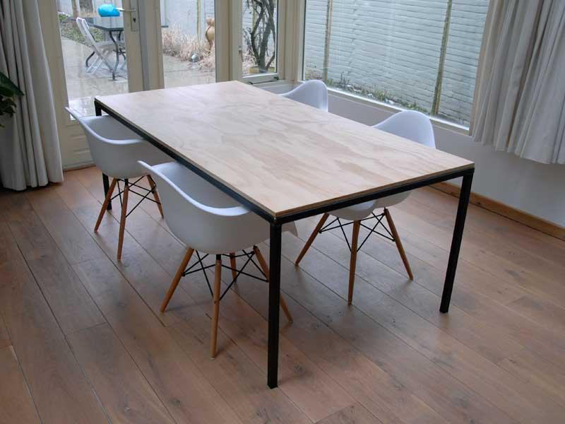 Eettafel hout met metaal: eettafel hout metalen onderstel great